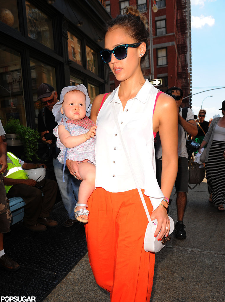 Jessica Alba wore a maxi skirt in NYC with Haven.