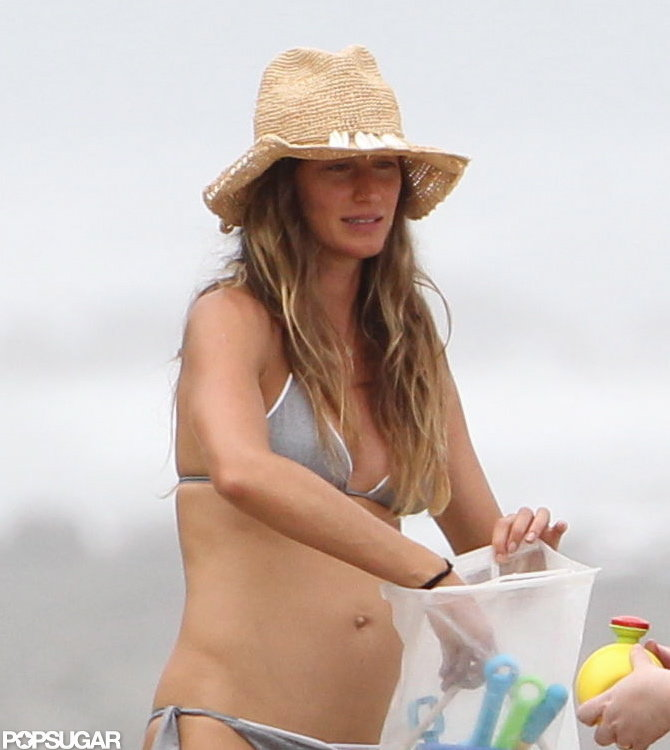 Gisele Bundchen brought toys to the beach.