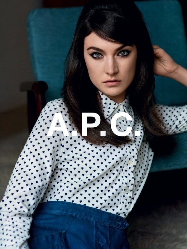 We love the hearts on the sweet button-up shirt in this A.P.C. Fall ad.