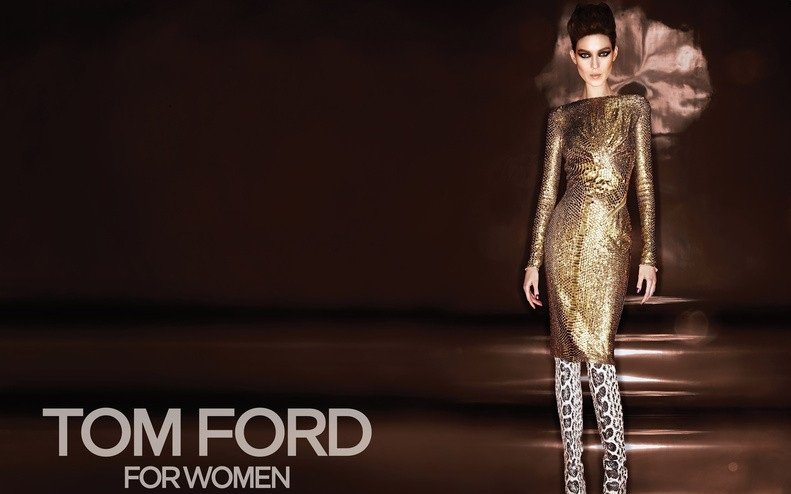 Clean silhouettes make way for vibrant prints and metallics in Tom Ford's Fall 2012 ads.