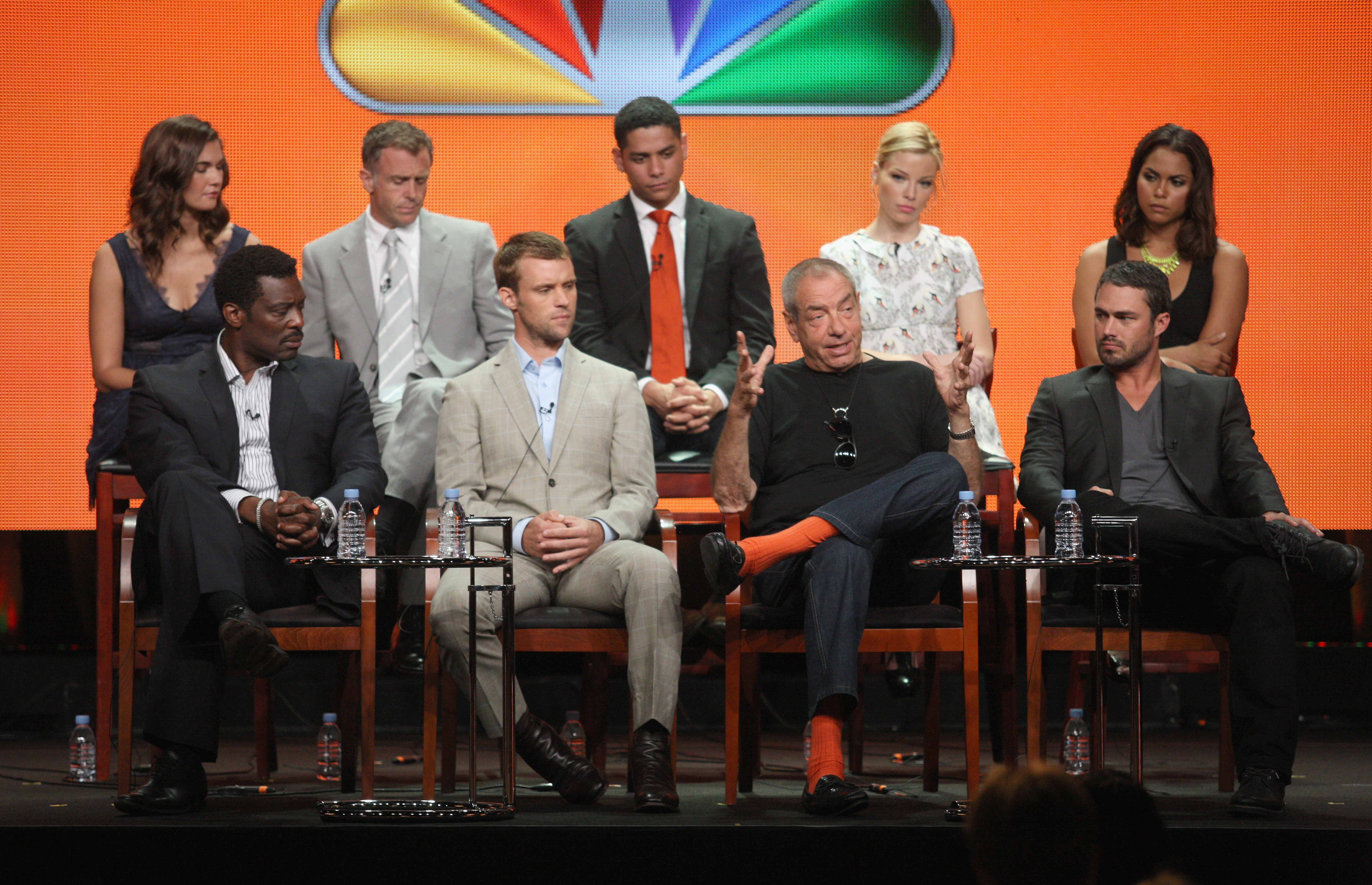 Teri Reeves, David Eigenberg, Charlie Barnett and Lauren German, Eamonn Walker, Jesse Spencer, executive producer Dick Wolf and Taylor Kinney spoke to the press about Chicago Fire at NBC's 2012 Summer TCA press tour.