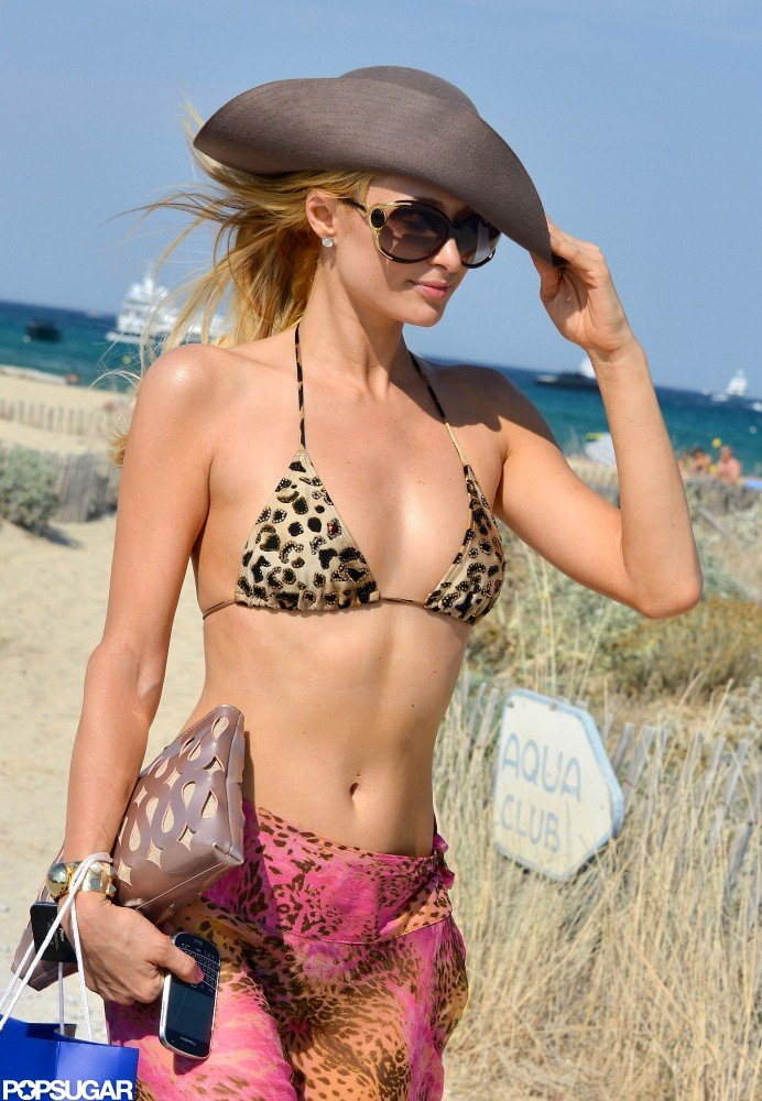 Paris Hilton wore large sunglasses.