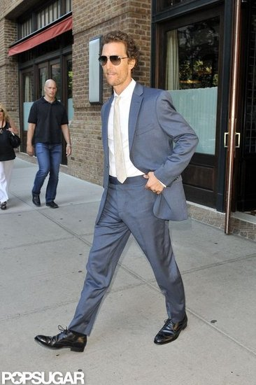 Matthew McConaughey was dressed up as he left his hotel in NYC.