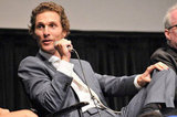 Matthew McConaughey spoke on a microphone at the Killer Joe screening in NYC.