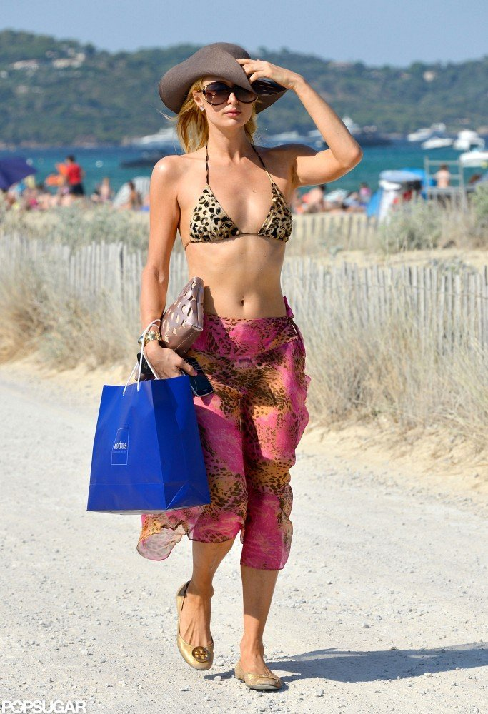Paris Hilton took a walk on the beach.