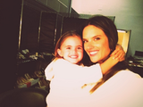 Alessandra Ambrosio smiled on the set with her daughter, Anja. Source: Twitter user AngelAlessandra