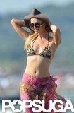 Paris Hilton wore a leopard bikini.