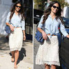 Jordana Brewster in Lace Skirt and Denim Top