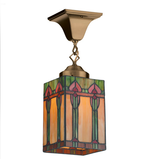 We love the gorgeous stained glass of this Mission-inspired Euclid Ceiling Light ($280).