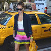 Jessica Alba Wearing a Colorful Striped Skirt