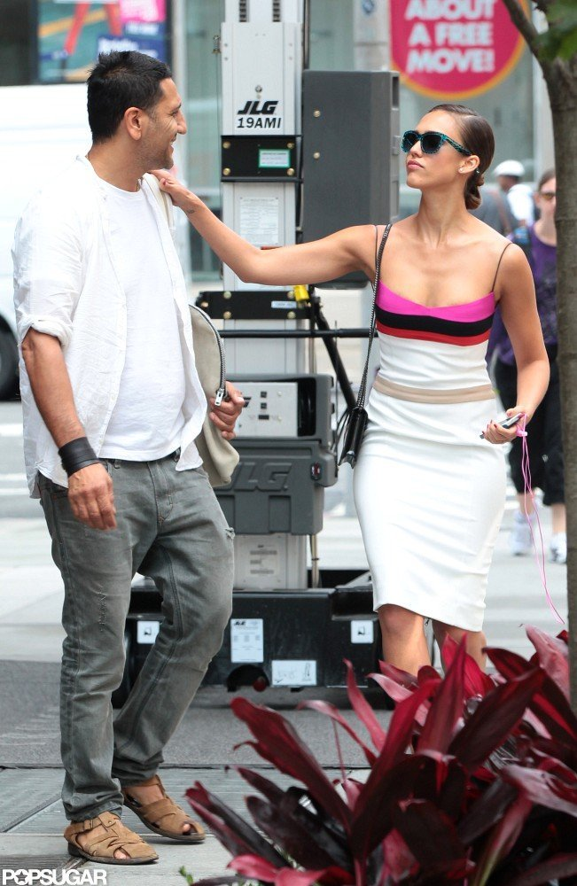 Jessica Alba greeted a friend in SoHo.