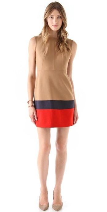 We love the idea of throwing on this subtly patriotic number and taking it right to work with us under a well-paired sheath.  Shoshanna Trina Dress ($350)