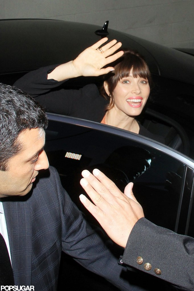 Jessica Biel gave a wave while getting into her car.