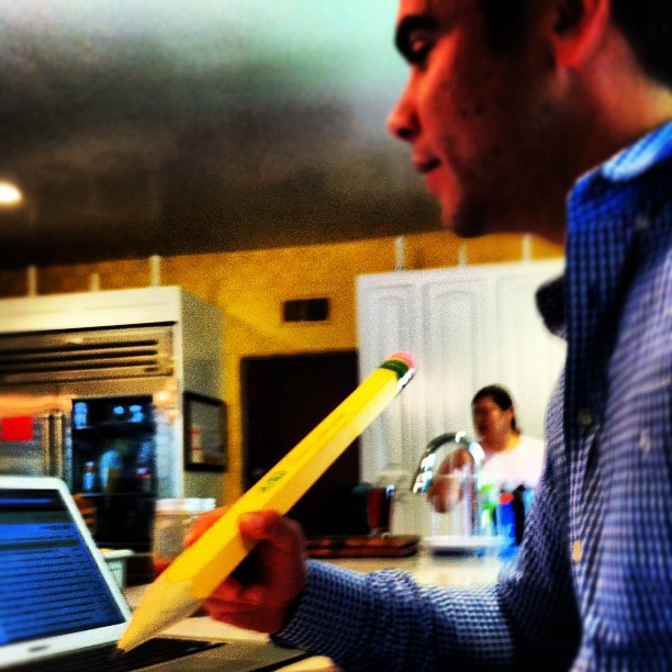 Cash Warren took notes with a giant pencil. Source: Instagram user cash_warren