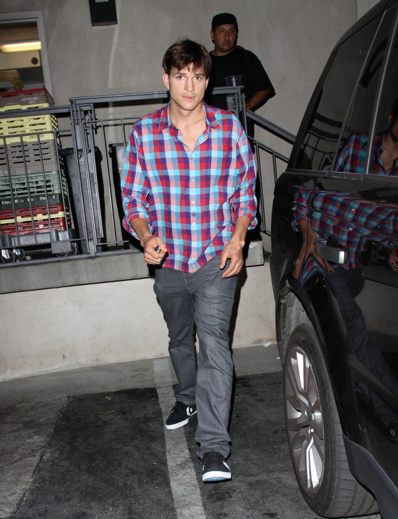 Ashton Kutcher headed home after a date with Mila Kunis.