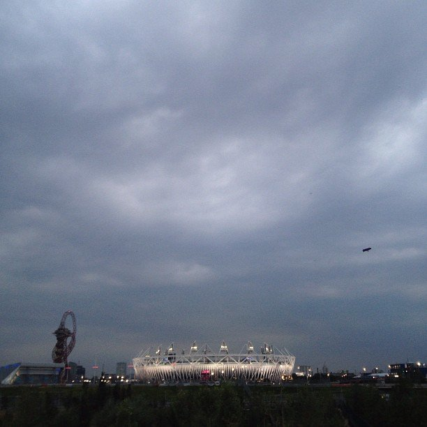 Skies over London's Olympic Stadium moments before the opening ceremonies began. Source: Instagram User nbcnews