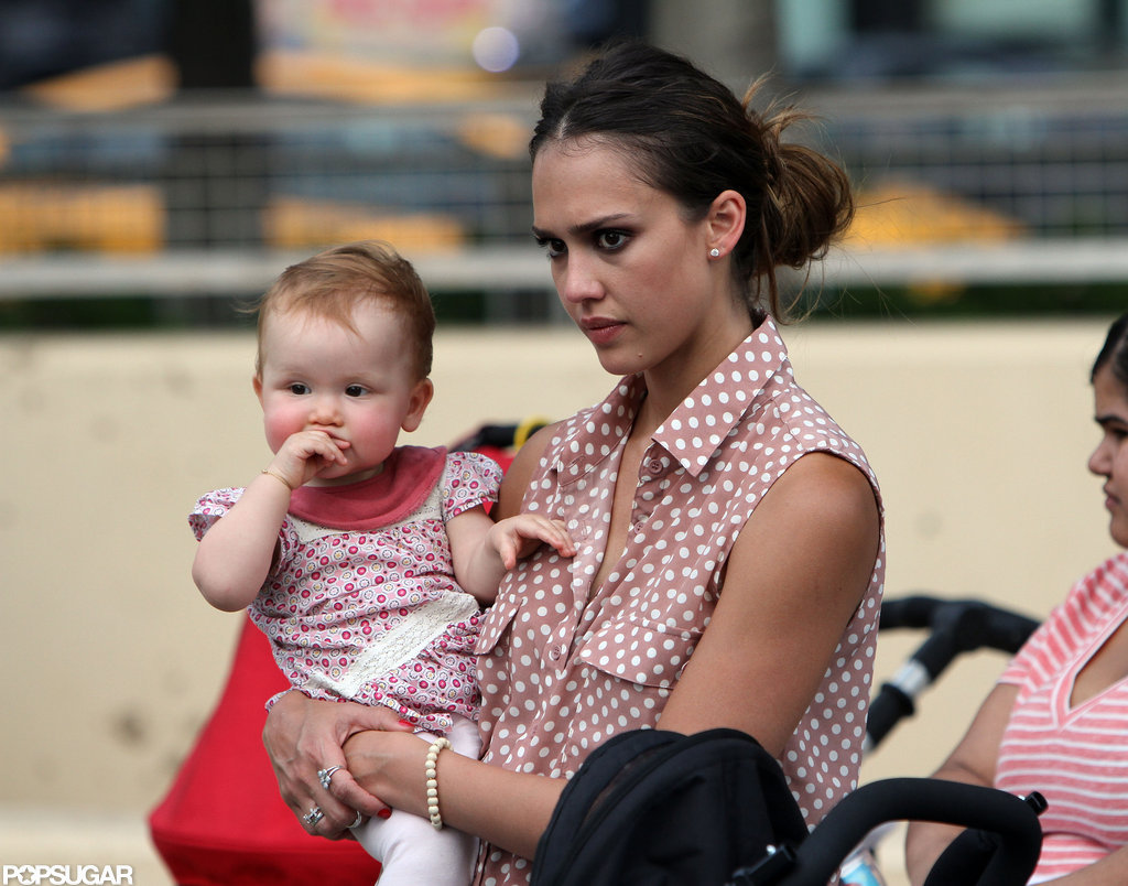 Jessica Alba held baby Haven at the playground in NYC.