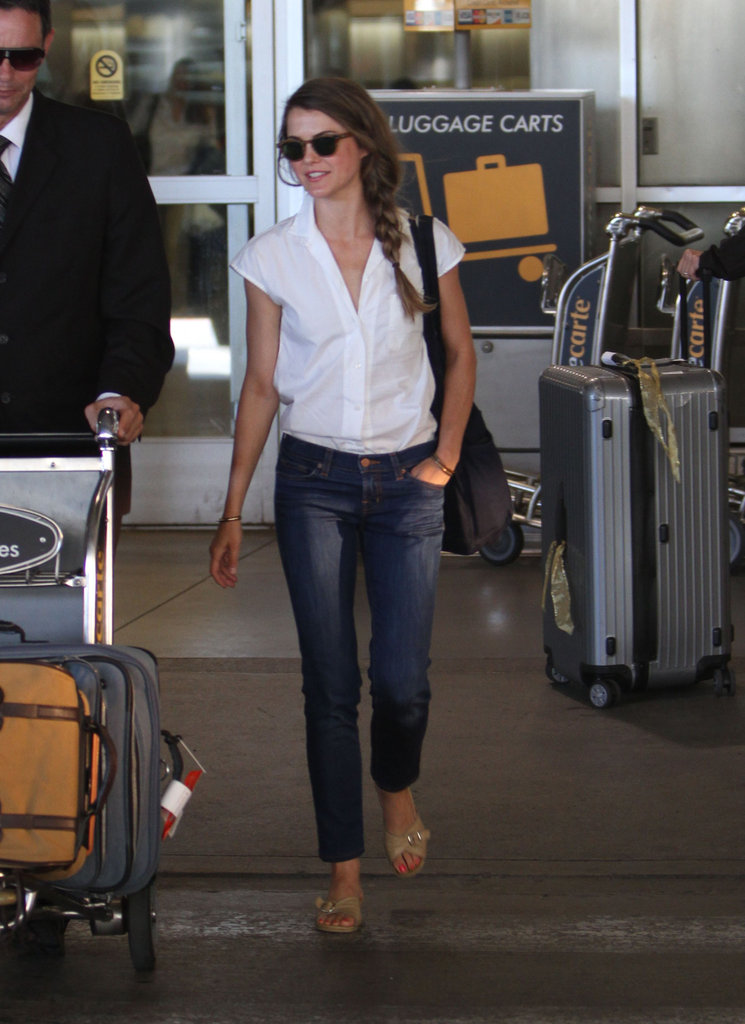 Keri Russell wore sunglasses outside of LAX.
