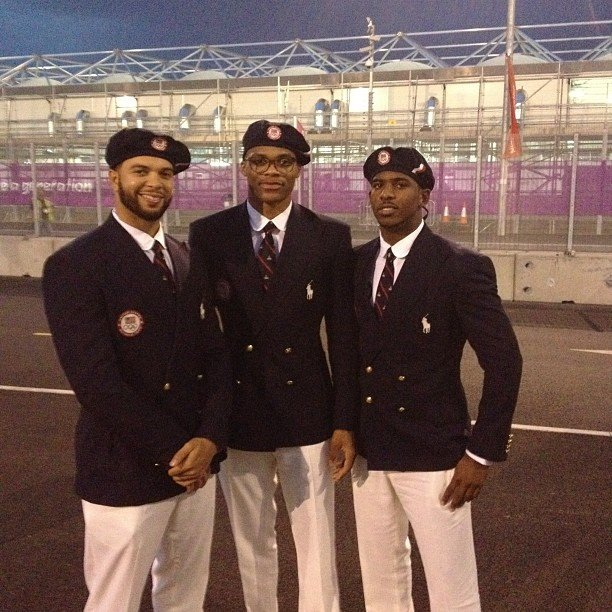USA players Chris Paul, Deron Williams and Russell Westbrook looked dapper in their Ralph Lauren uniforms.  Source: Instagram User cp3