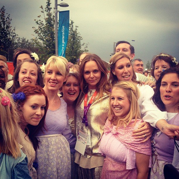 Stella McCartney happily posed with fans outside the Olympic Stadium. Source: Instagram user stella_mccartney