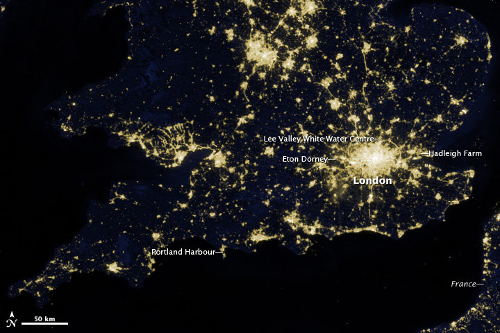 London and southern Great Britain as spotted in March 2012 by the Suomi National Polar-orbiting Partnership satellite.