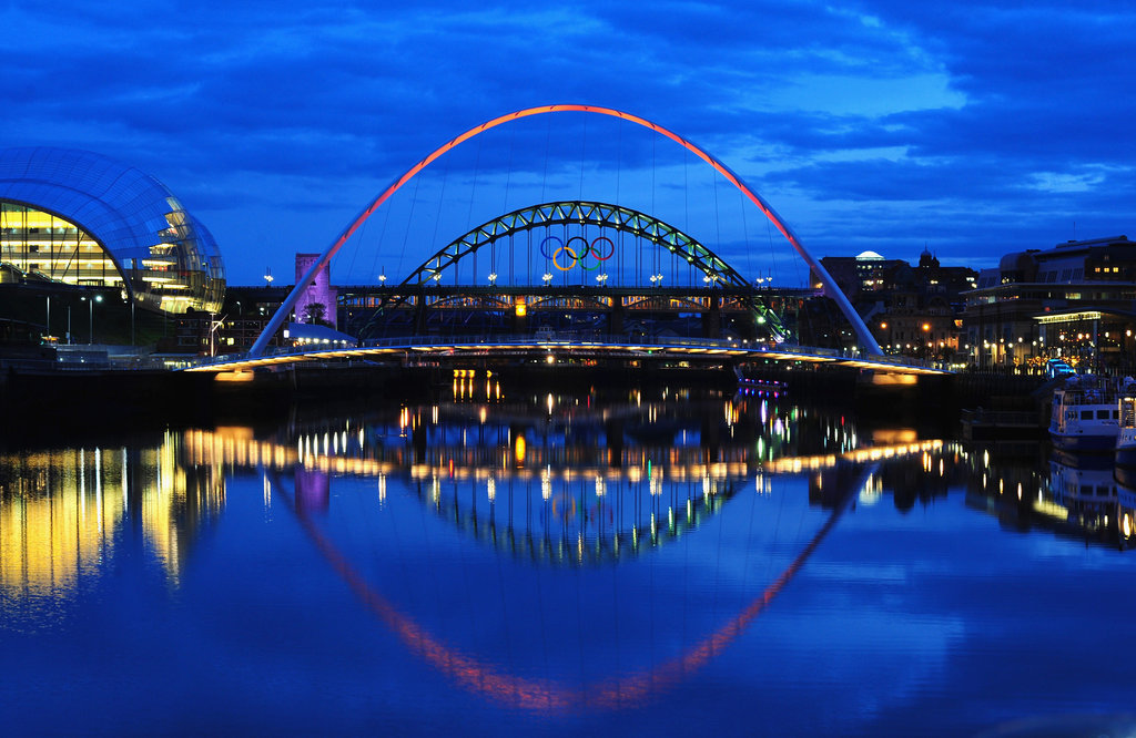 The Tyne Bridge shone through the Millennium Bridge in Newcastle upon Tyne, England.