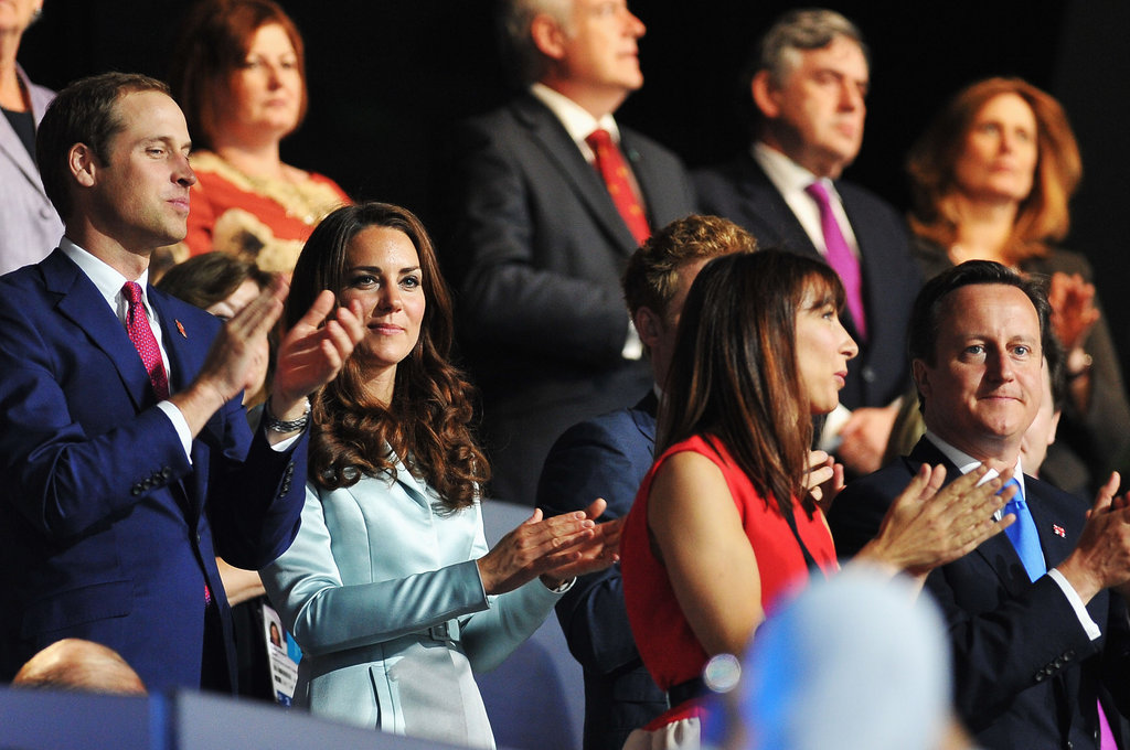 Prince William and Kate Middleton clapped alongside Prime Minister David Cameron and his wife, Samantha.