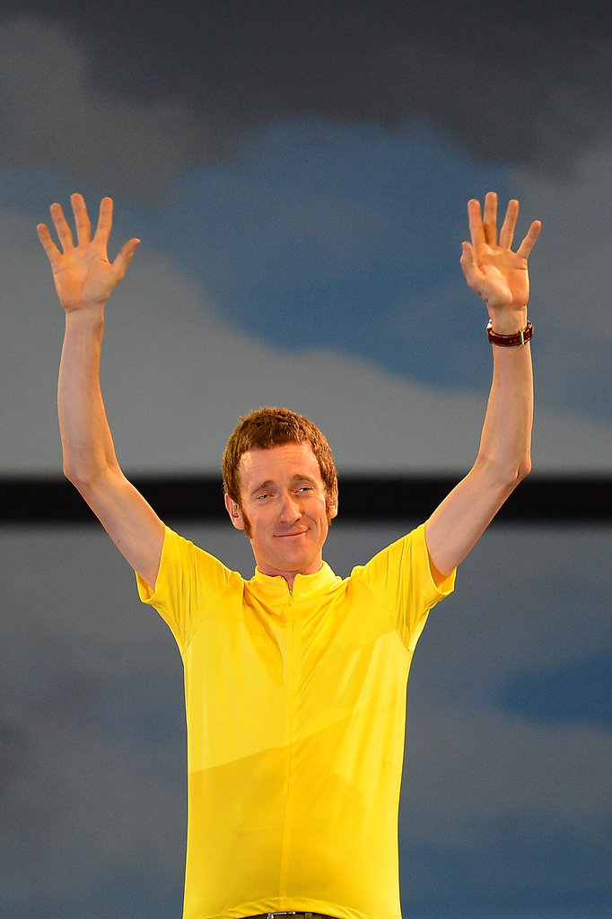 Bradley Wiggins, the first British Tour de France winner, waved to the audience.