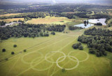 Olympic rings were cut into the grass of Richmond Park in London.