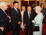 The queen spoke with President of Mongolia Elbegdorj Tsakhia and Erdene Elbegdorj during the reception.