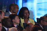 First lady Michelle Obama watched the performances.