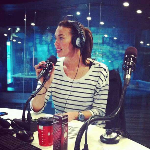 Megan Gale wore stripes for a radio co-hosting gig. Source: Instagram user megankgale