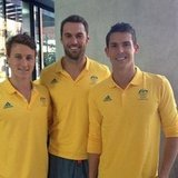 Cameron McEvoy, Matthew Targett and Eamon Sullivan sported their gold polos. Source: Instagram user eamon_sullivan