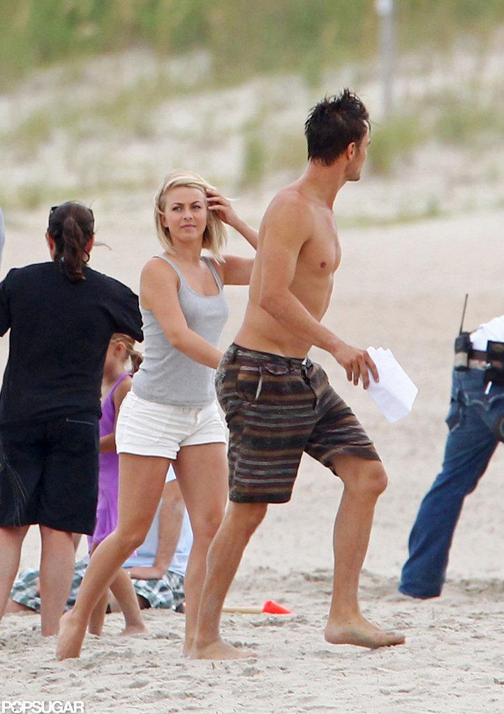 Josh Duhamel and Julianne Hough shot on location on the beach.