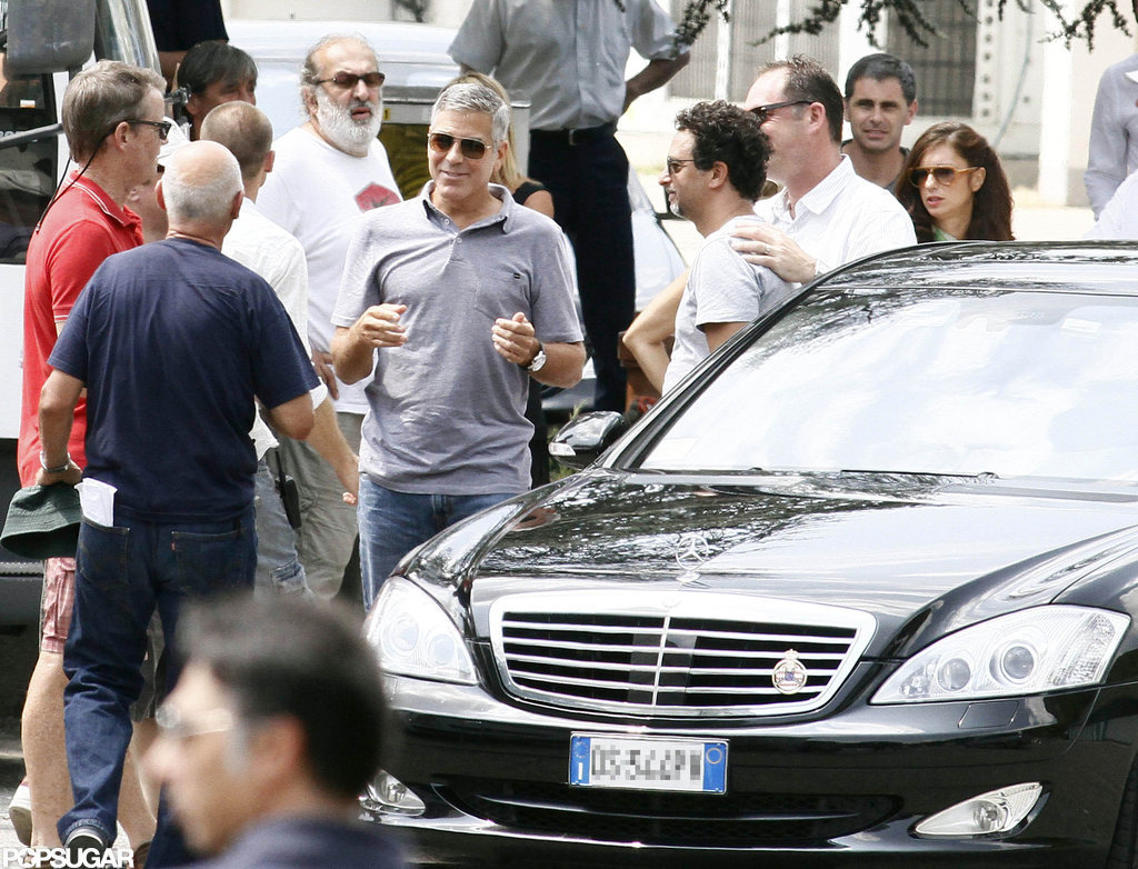George Clooney filmed a Mercedes Benz commercial in Italy.