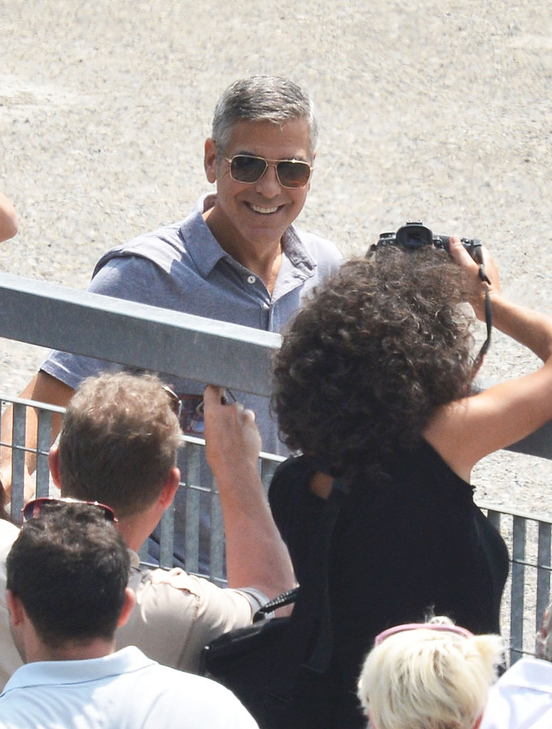 George Clooney posed for photos.