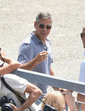 George Clooney greeted fans.