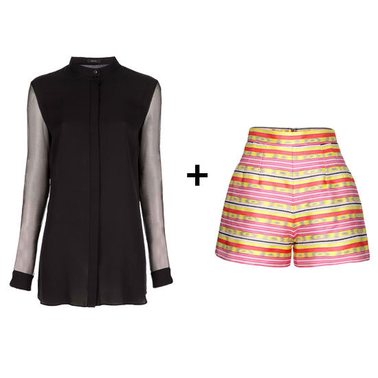 Mix up your black blouse sensibility. Instead of pairing it with a safer choice, we think a striped high-waisted style puts a more vibrant, but totally work-friendly, twist on the chic top. Get the look:   Joseph Silk Blouse ($227)  Carven High-Waisted Jacquard Shorts ($365)