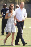 Kate looked amazing while making the Olympic rounds with Prince William, this time in a ladylike Hobbs dress and her go-to L.K. Bennett espadrille wedges.