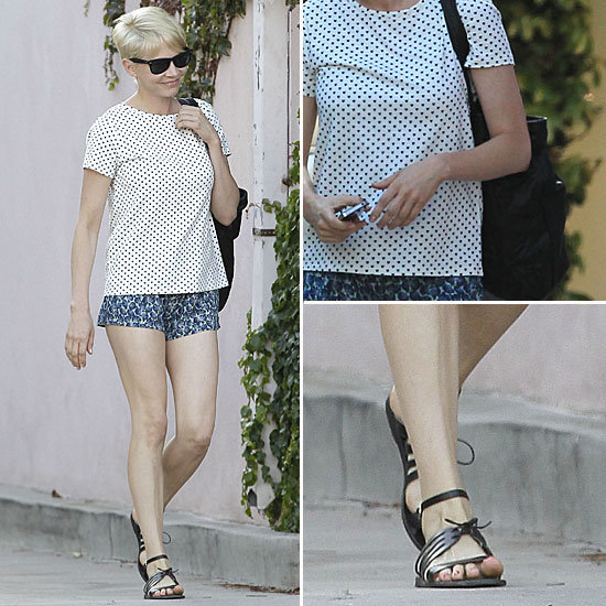 Michelle Williams Wearing Heart Print T-Shirt and Shorts