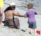 Minnie Driver played at the beach with her son, Henry, in Malibu.