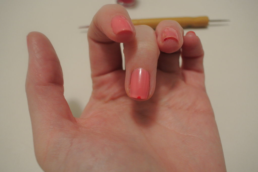 I painted a small dot in the middle of each fingernail so I could see where I needed my triangular collars to meet.