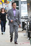 Ed Westwick channeled his character in gray and purple.