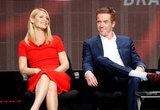 Claire Danes Dresses Her Bump in Red to Talk Homeland at the TCAs