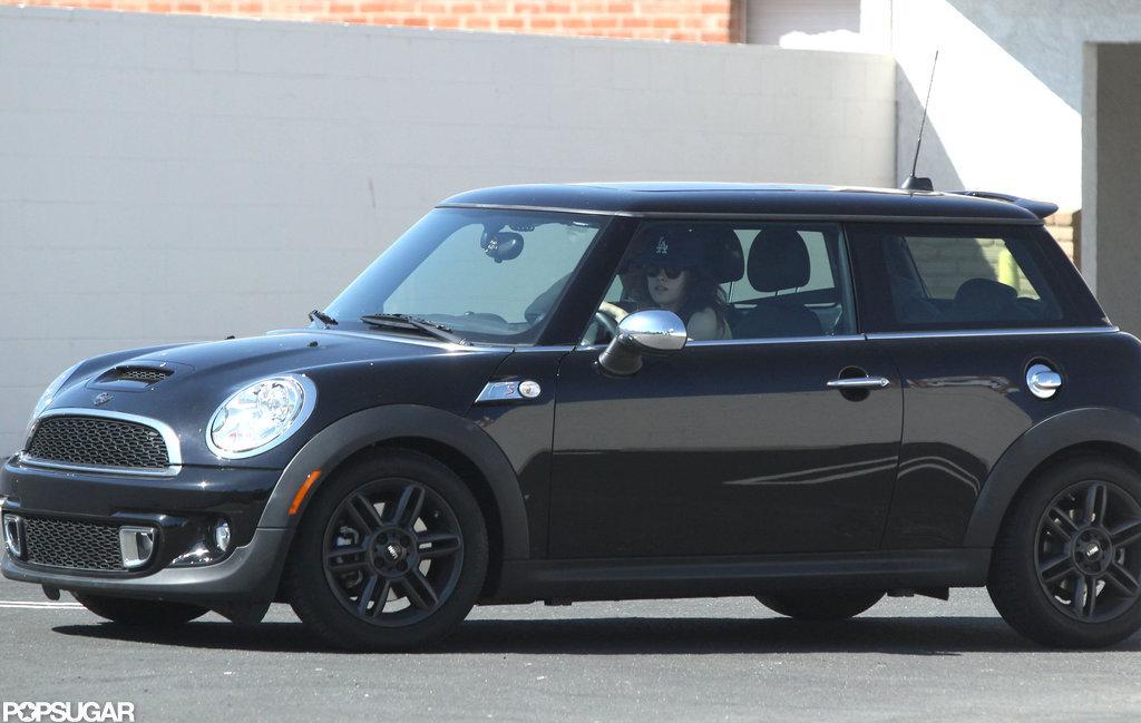 Kristen Stewart drove around LA in her Mini Cooper.