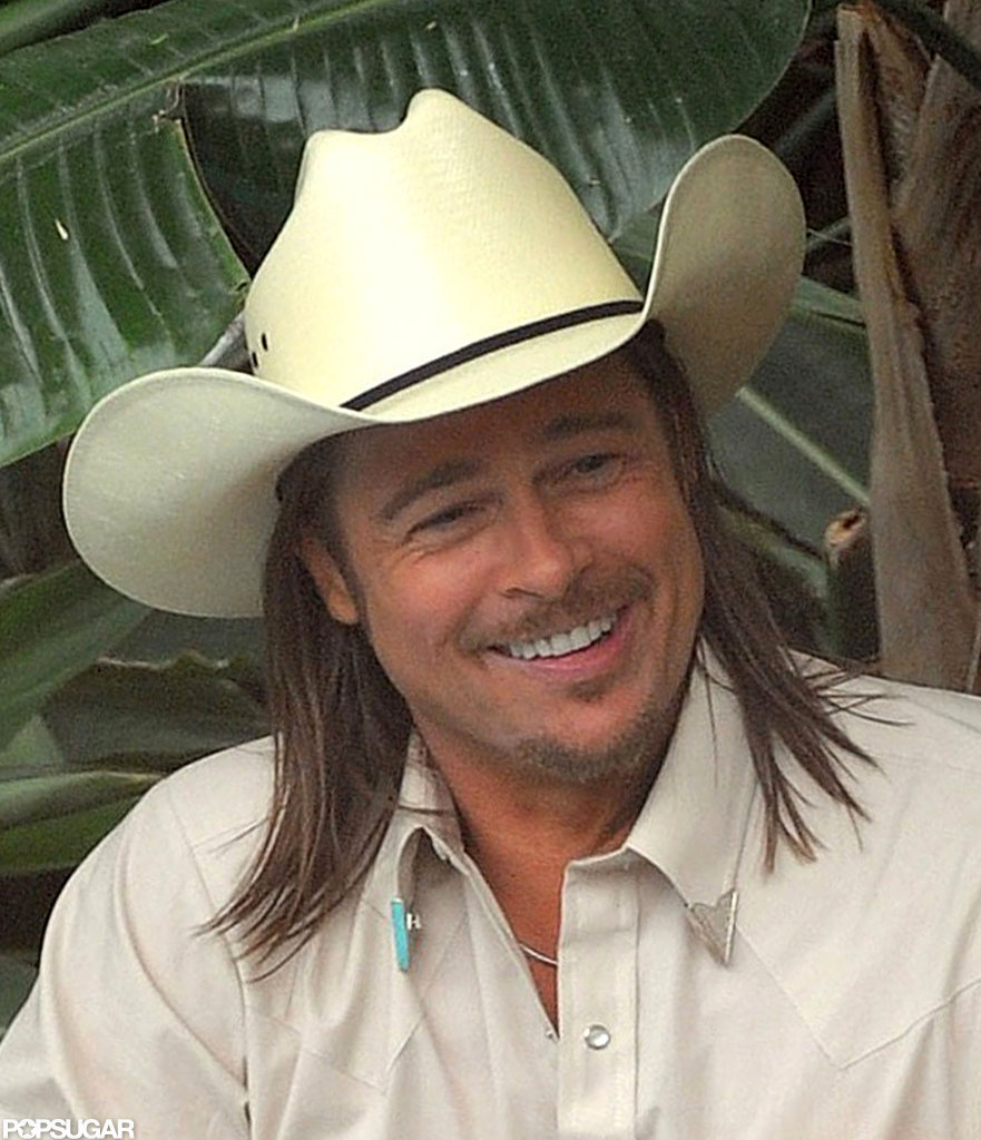 Brad Pitt showed off his winning smile.