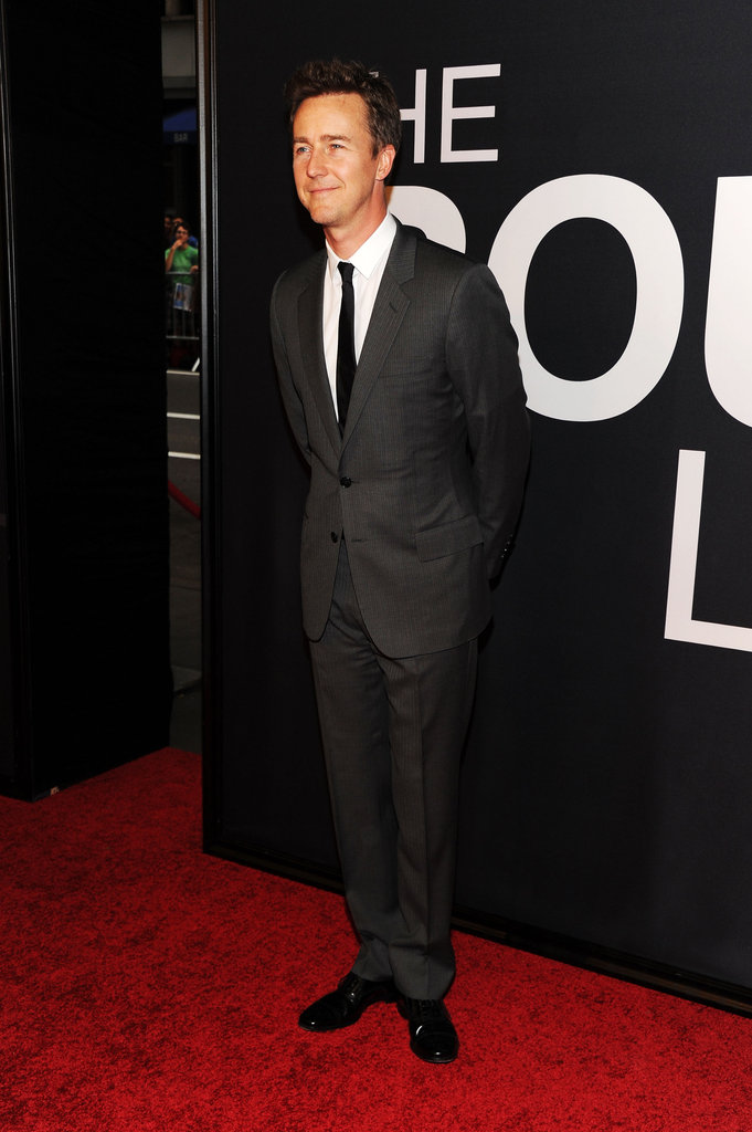 Edward Norton wore a suit for the world premiere of The Bourne Legacy in NYC.