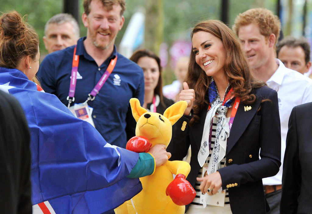 An Australian athlete presented Kate Middleton with a stuffed animal.