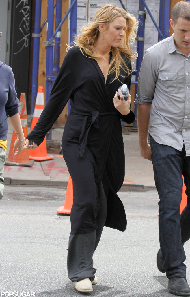 Blake Lively walked on set in NYC.