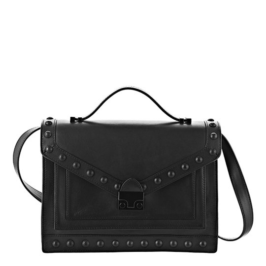 The bag: Loeffler Randall Rider Bag ($595) Why we love it: We couldn't be more excited that the genius team behind a seriously covetable lineup of heels and boots has ventured into handbags. This sleek, structured satchel maintains a classic shape with an edgy, studded update. Rest assured, this one is as functional as it is cool.